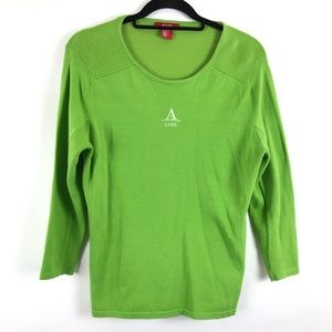 A-line Scoop-neck Pullover Lime Green Sweater